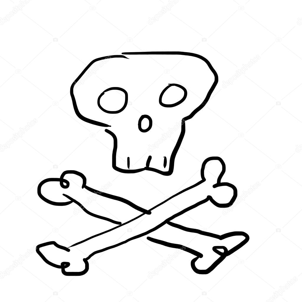 1024x1024 Skull With Bones, Drawing In Primitive Style Stock Photo