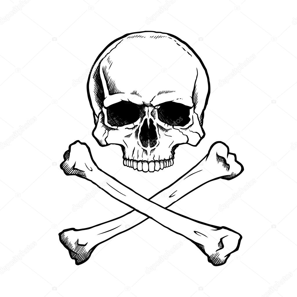1024x1024 Black And White Human Skull And Crossbones Stock Vector