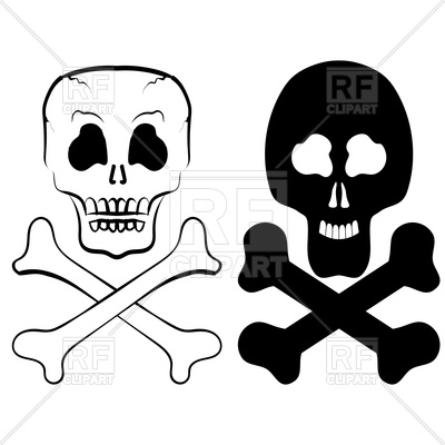 400x400 Human Skull Cross Bones Royalty Free Vector Clip Art Image