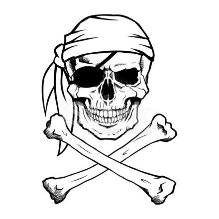 440x440 Jolly Roger Pirate Skull And Crossbones Stock Vector