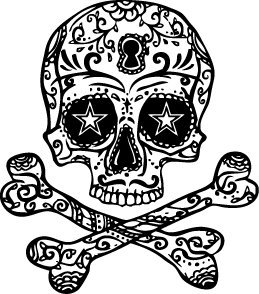 259x294 Halloween Skull Amp Cross Bones Temporary Tattoo Set