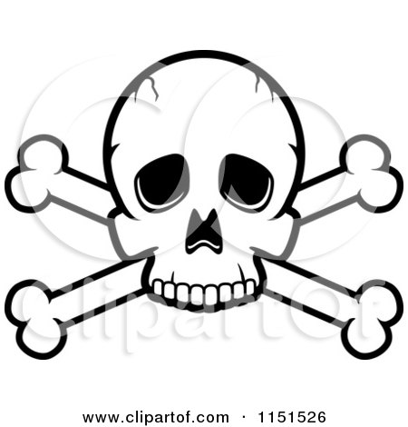 450x470 Cartoon Clipart Of A Black And White Skull And Crossed Bones