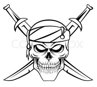 320x286 Cartoon Pirate Skull And Crossbones. Vector Illustration
