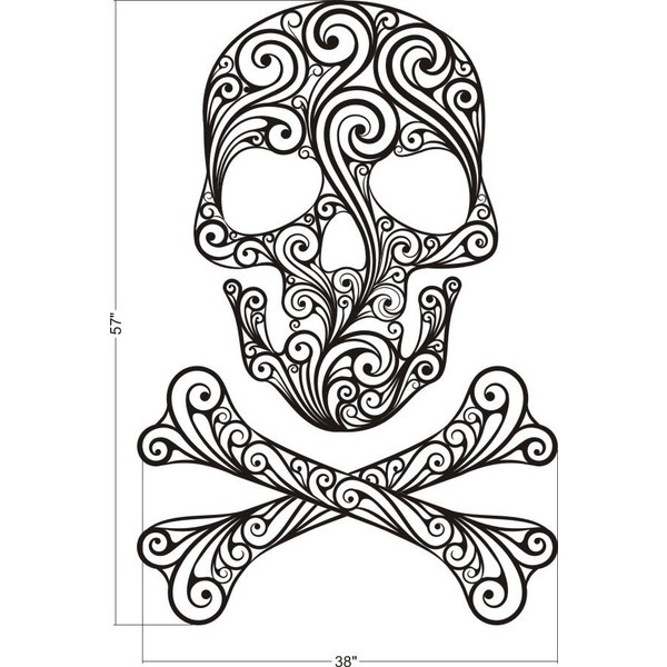 600x600 Sugar Skull Designs Skull And Crossbones Wall Decal Sugar Skull