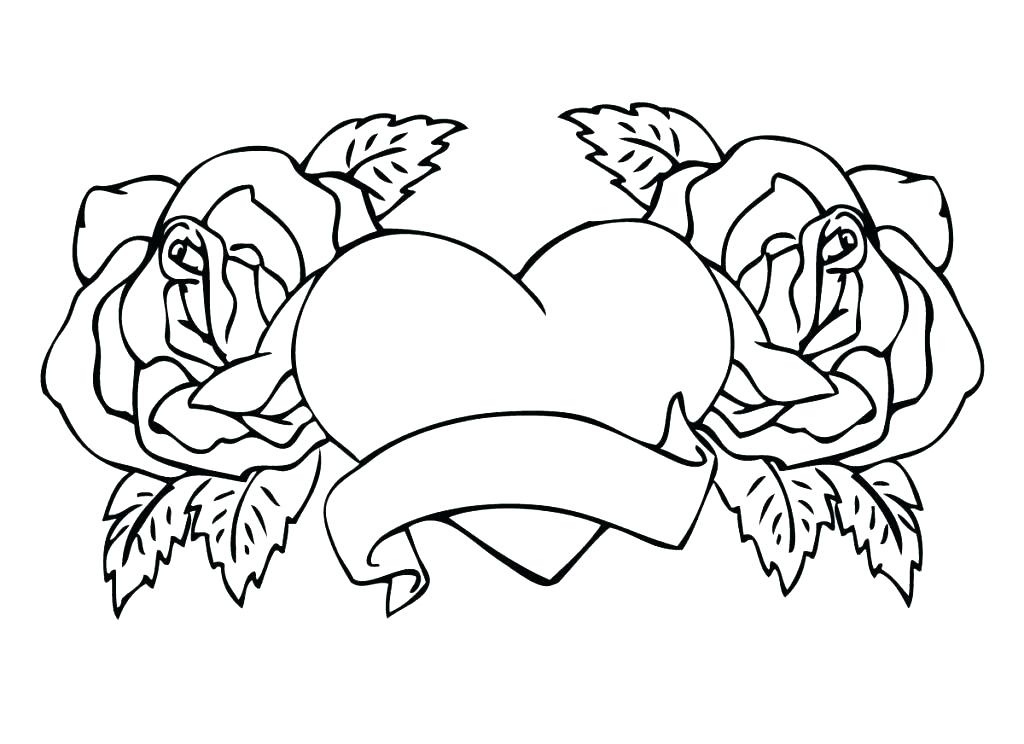 1024x744 Good Flaming Skull Coloring Pages Online Roses And Hearts Heart