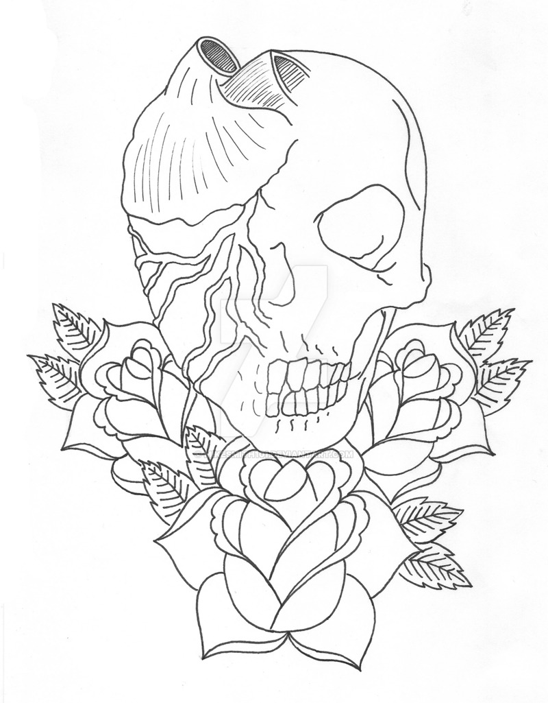 800x1025 Skull Heart And Roses Lineart By Mikesmith101