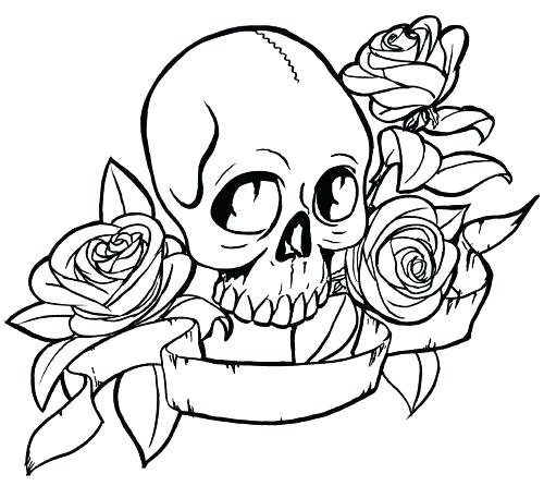 500x457 Skull With Roses Coloring Sheet