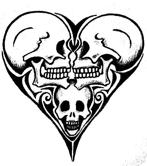 470x530 Skull Heart By Loevenstein