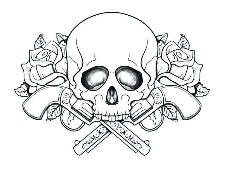 736x557 Top Rated Tattoo Coloring Pages Images Free Skull And Guns