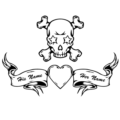 500x500 Customize Your Name On Skull Heart Tattoo Design