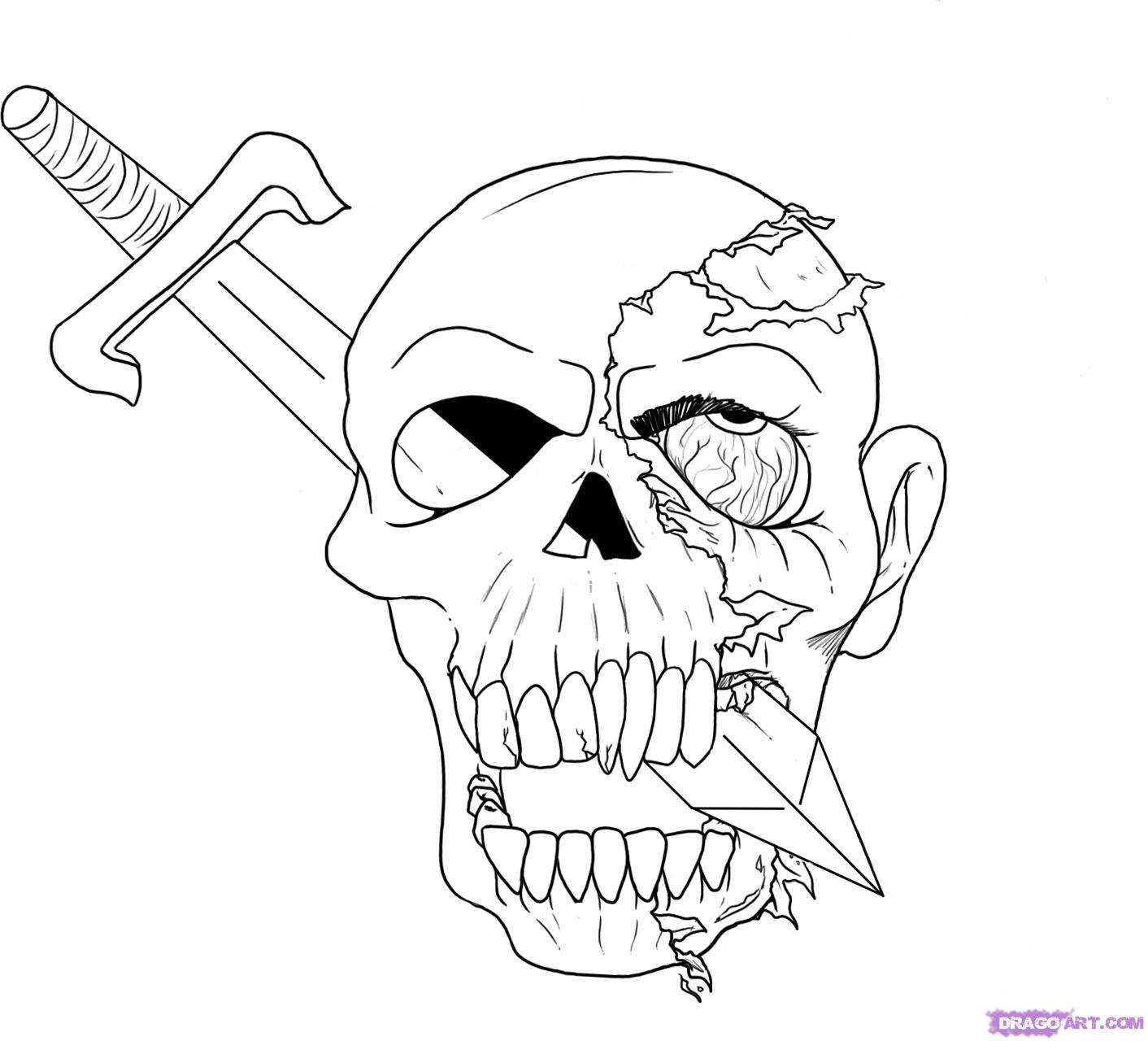 Drawings Easy Skull With Guns: Skull And Roses Drawing At GetDrawings