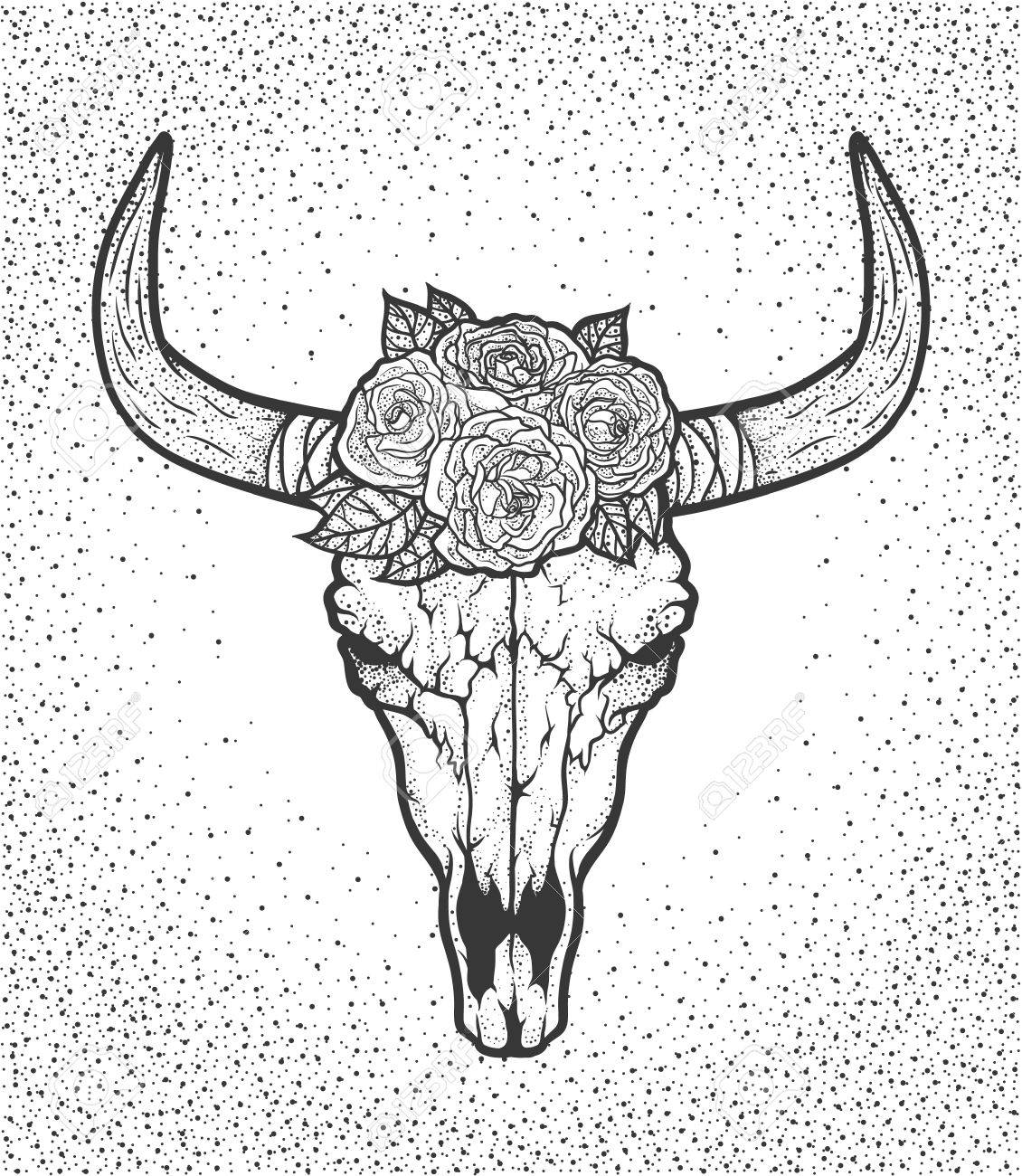1130x1300 Bull Skull With Roses Native Americans Tribal Style. Dotted Tattoo