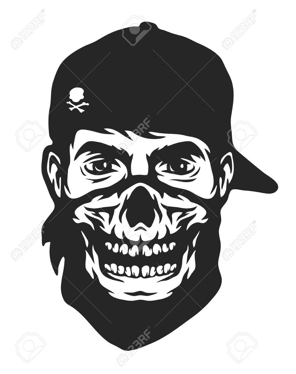 1029x1300 The Guy In The Bandana With A Skull Pattern. Royalty Free Cliparts
