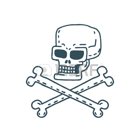 450x450 Skull Cartoon. Skeleton Head Drawing On White Background Royalty
