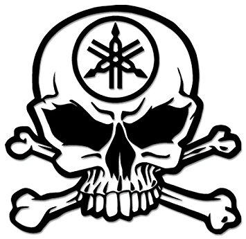355x345 Death Skull Crossbones Yamaha Racing Vinyl Decal