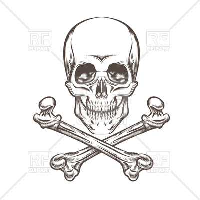 400x400 Engraving Illustration Of Skull And Crossbones Royalty Free Vector
