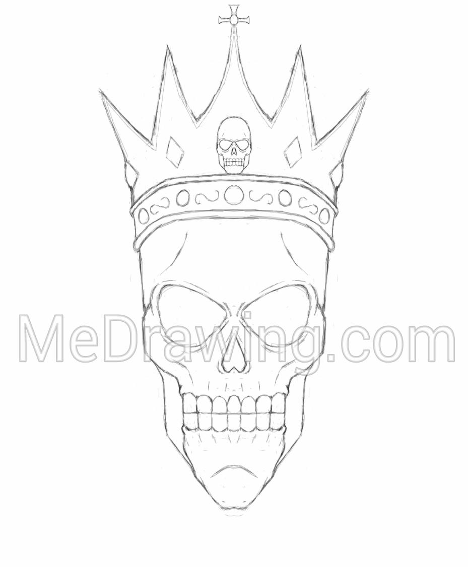 929x1126 King Skull Crown Sketch