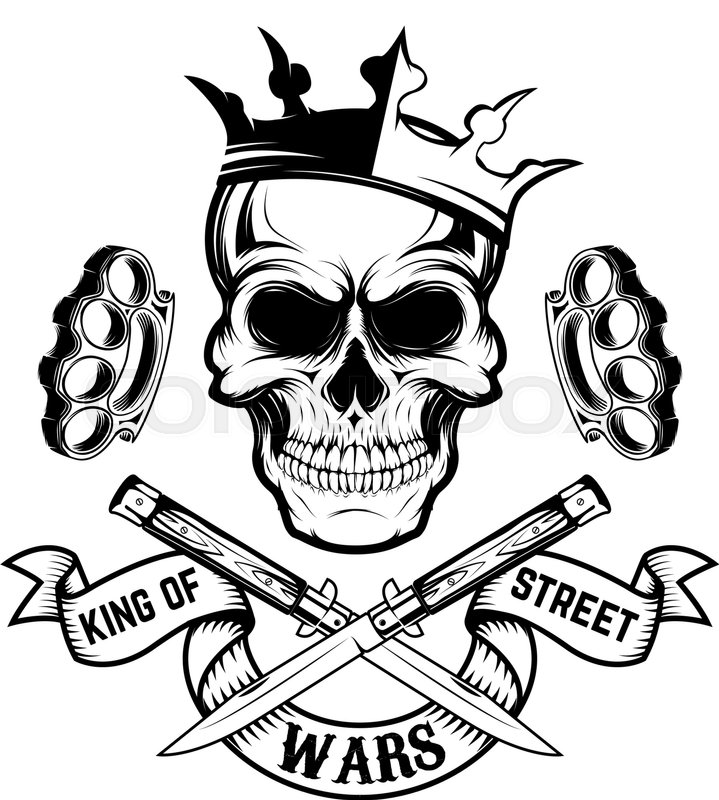 719x800 King of street wars. Skull in crown with banner and two crossed