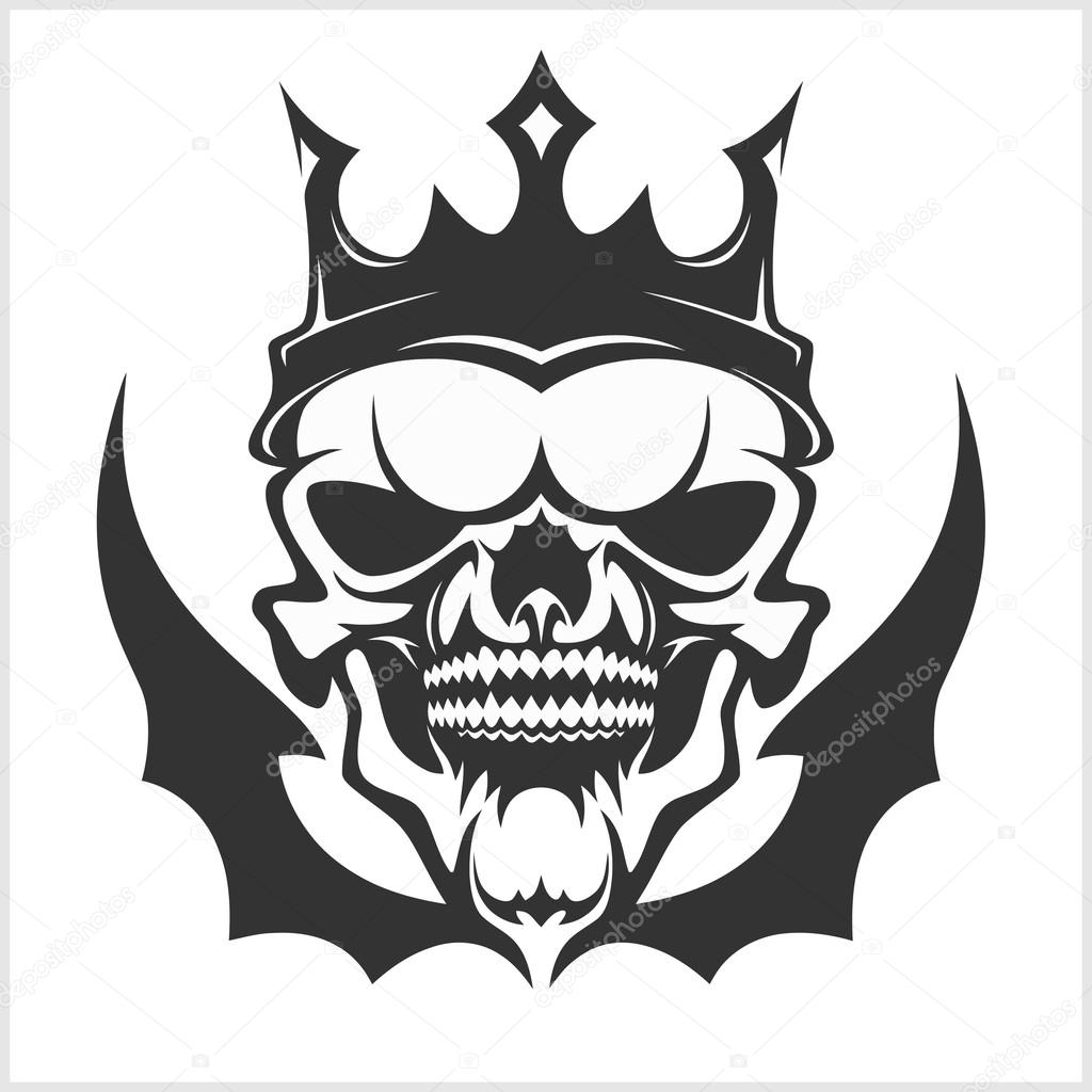 1024x1024 King Skull Wearing Crown. Stock Vector Digital Clipart