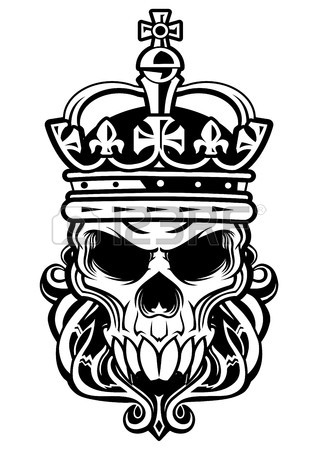 318x450 Skull With Beard Wearing A Royal Crown Royalty Free Cliparts