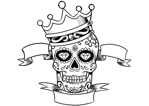 480x343 Sugar Skull with Crown coloring page Free Printable Coloring Pages
