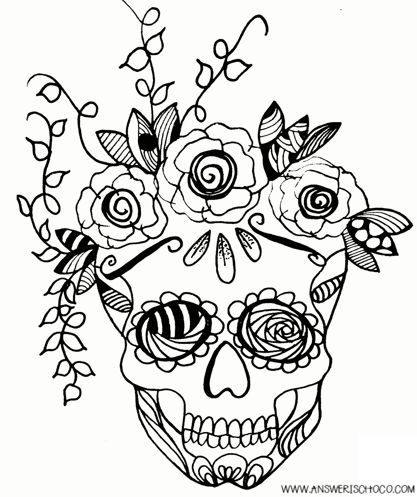 1341x1600 The Answer Is Chocolate Sugar Skull