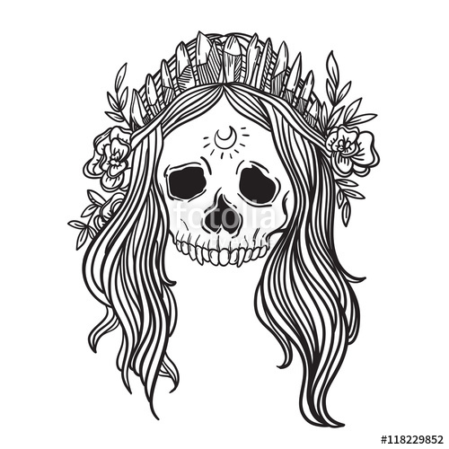 500x500 Human skull with flower wreath and quartz crystal crown. Los