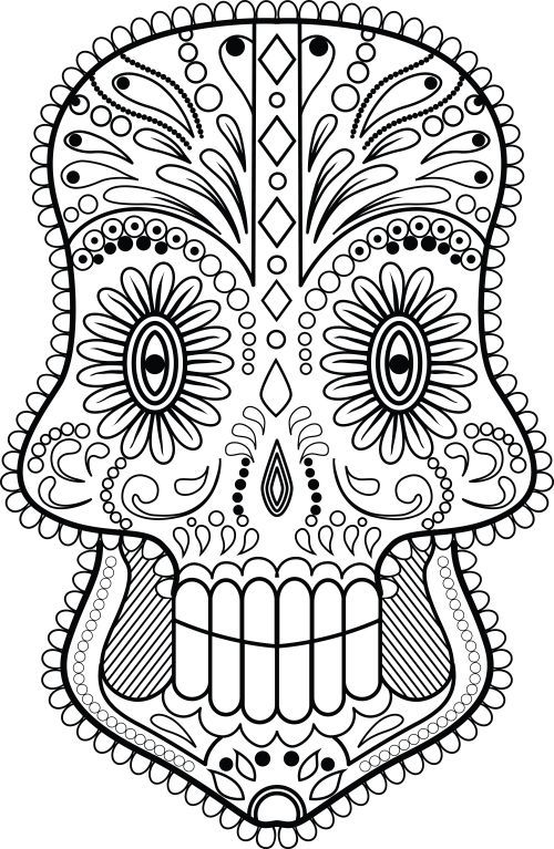 500x767 Skull Zentangle Coloring Page Zentangle Coloring Pages