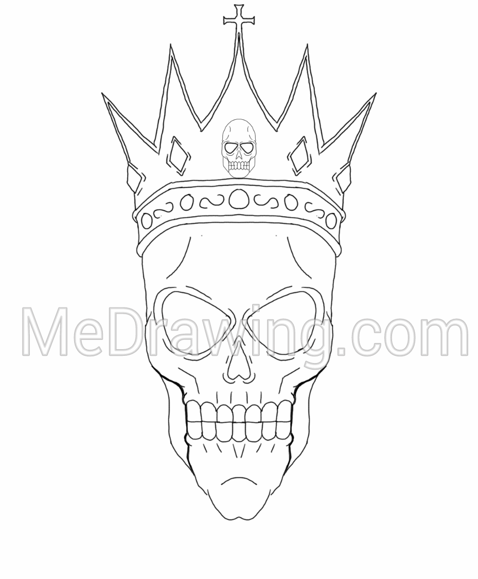 929x1126 King Skull Crown Inked Drawing