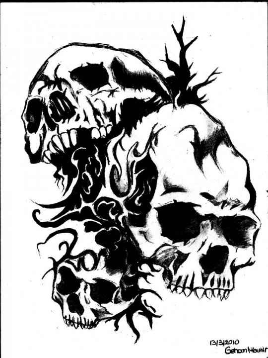 540x720 Skull Drawing By Gmimkaf