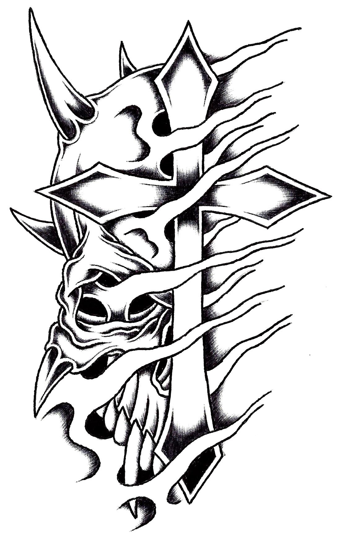 1108x1748 Horned Cross Skull By Stark Sketches