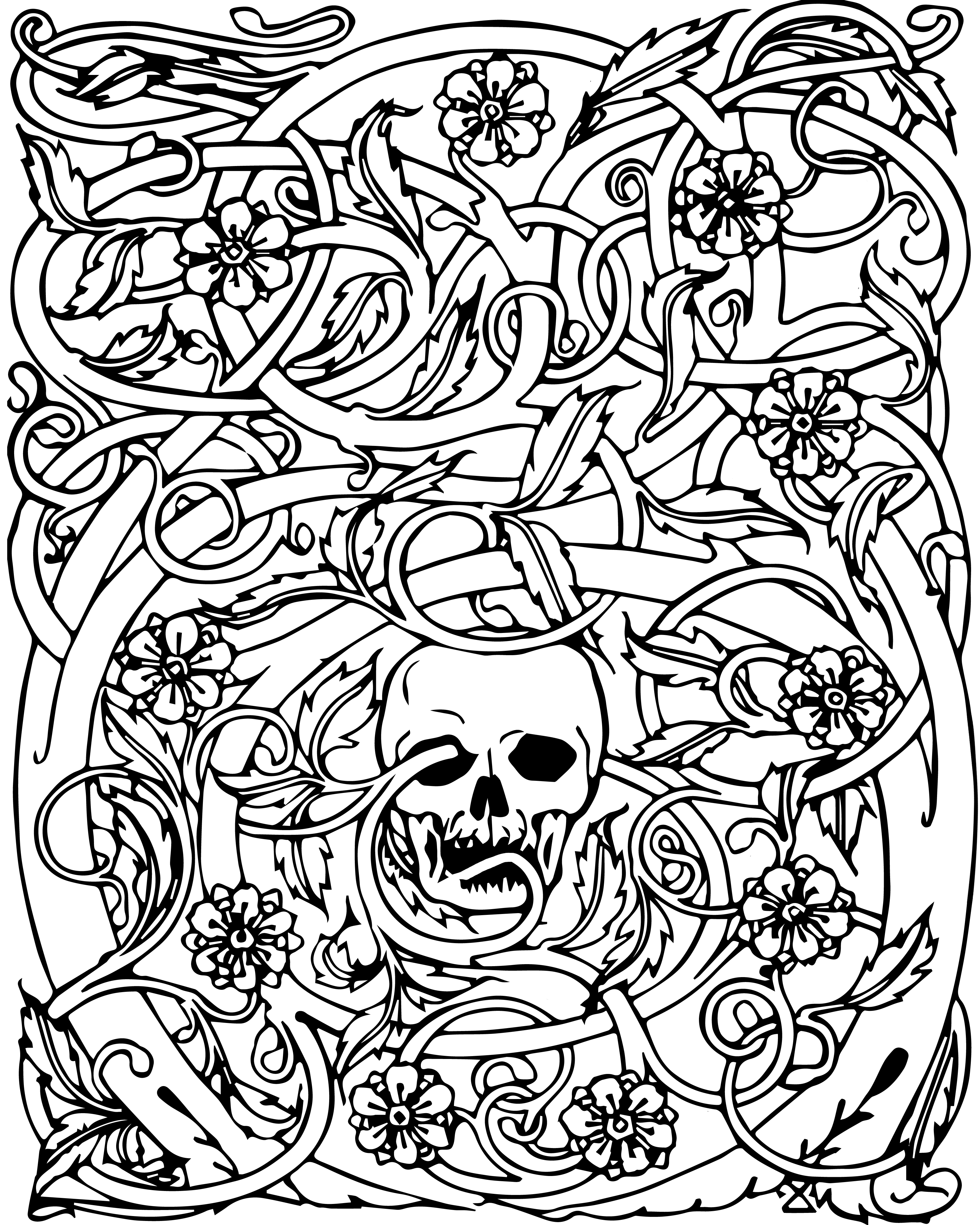3400x4250 Skull Adult Coloring Pages