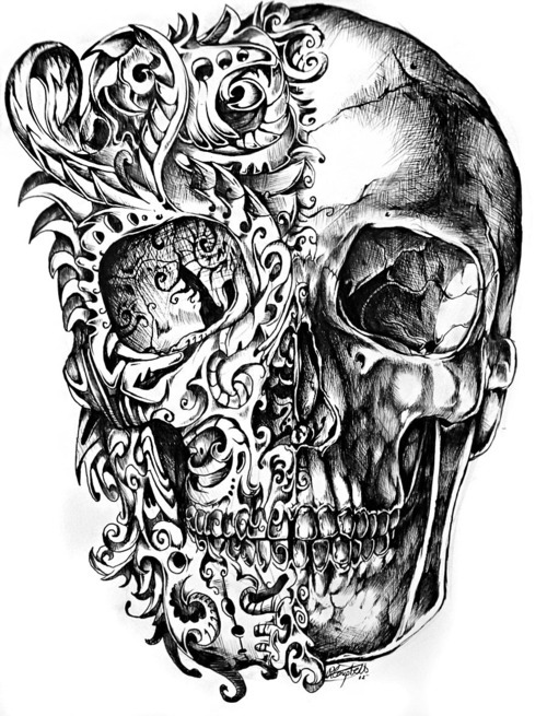 500x655 Skull And Bones Tattoos Tumblr