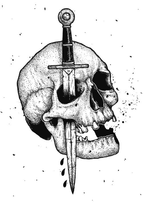 500x708 Skull Dotwork Tumblr