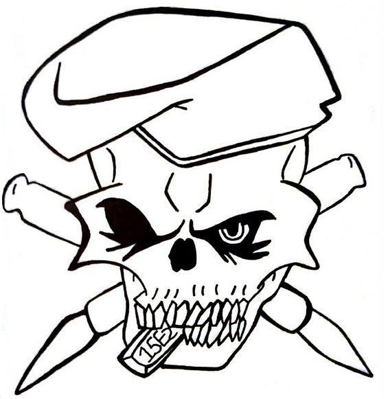 565x581 Army Skull Tattoo By 1990slawoman