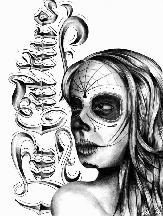 529x700 Skull Face Drawing By Brandon Hurley