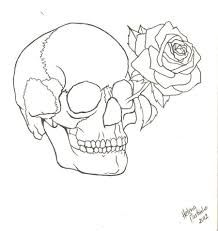 Skull Flower Drawing