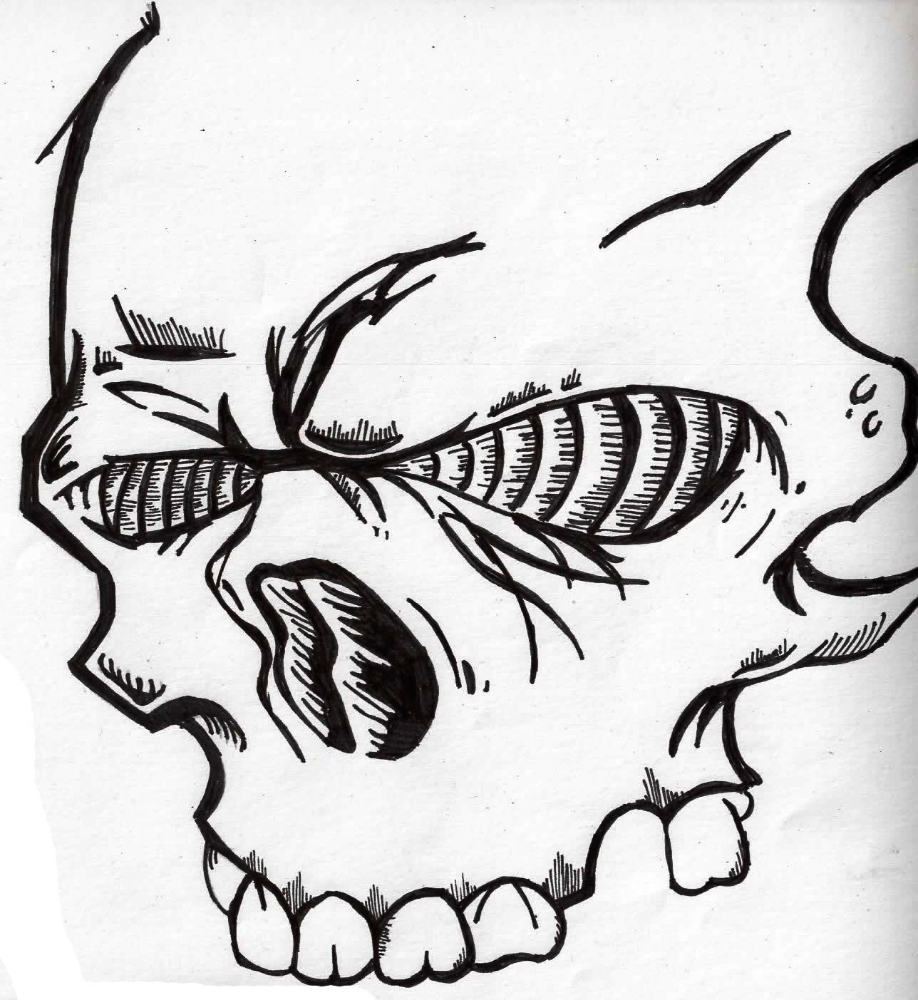 1288x1403 Skull Graffiti Drawing How To Draw A Skull Head, Skull Head Tattoo