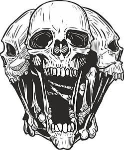 249x300 Skull Heads Sticker For Motorcycle Gas Tank Car Bumper Helmet