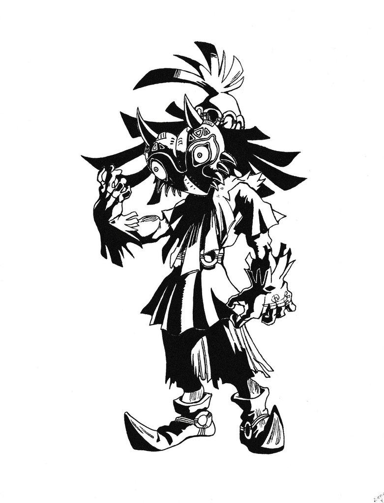 781x1023 Skull Kid Ink Sketch By Brokenelement89