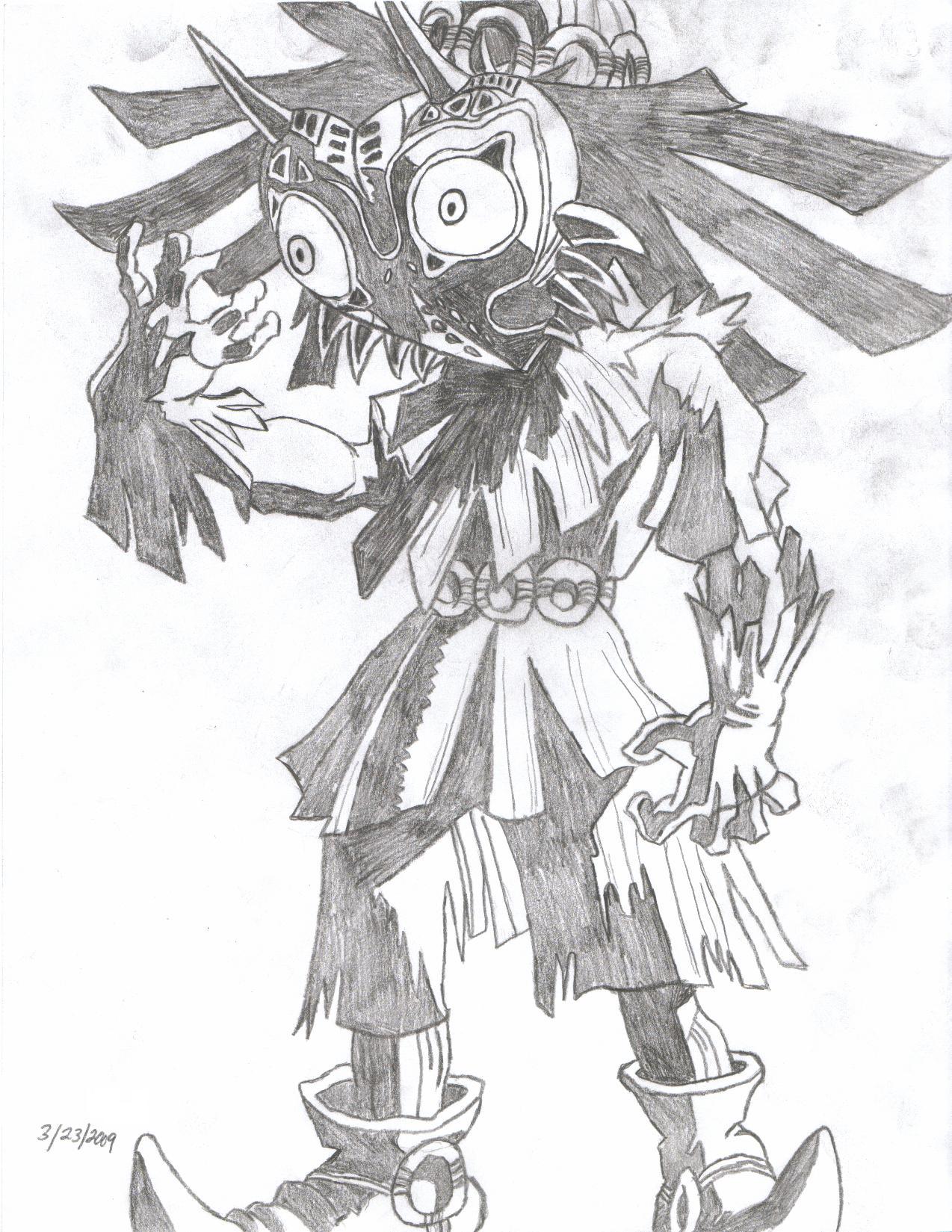 1274x1649 Found A Pencil Drawing I Made Of Skull Kid Majorasmask