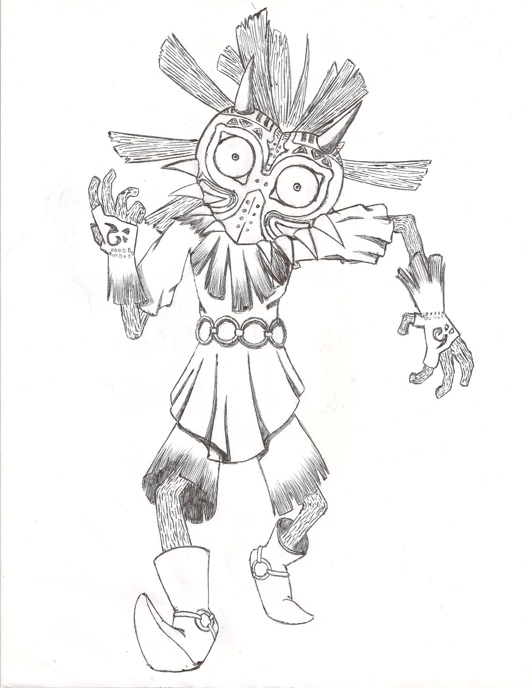 1693x2189 Skull Kid Sketch By Thebigbadwulf