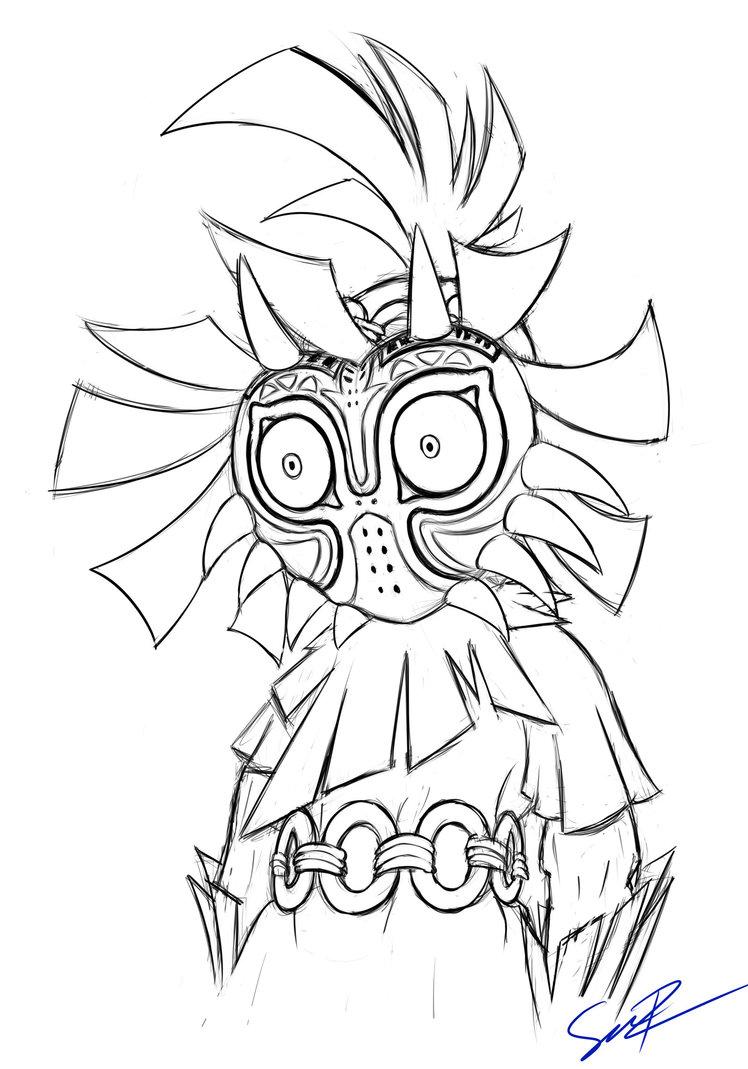 748x1069 Skull Kid Sketch By Sheandog