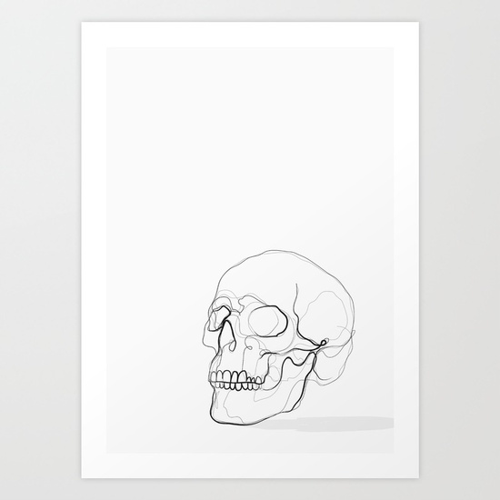 550x550 Skull Line Drawing Art Print By Kerrykg Society6