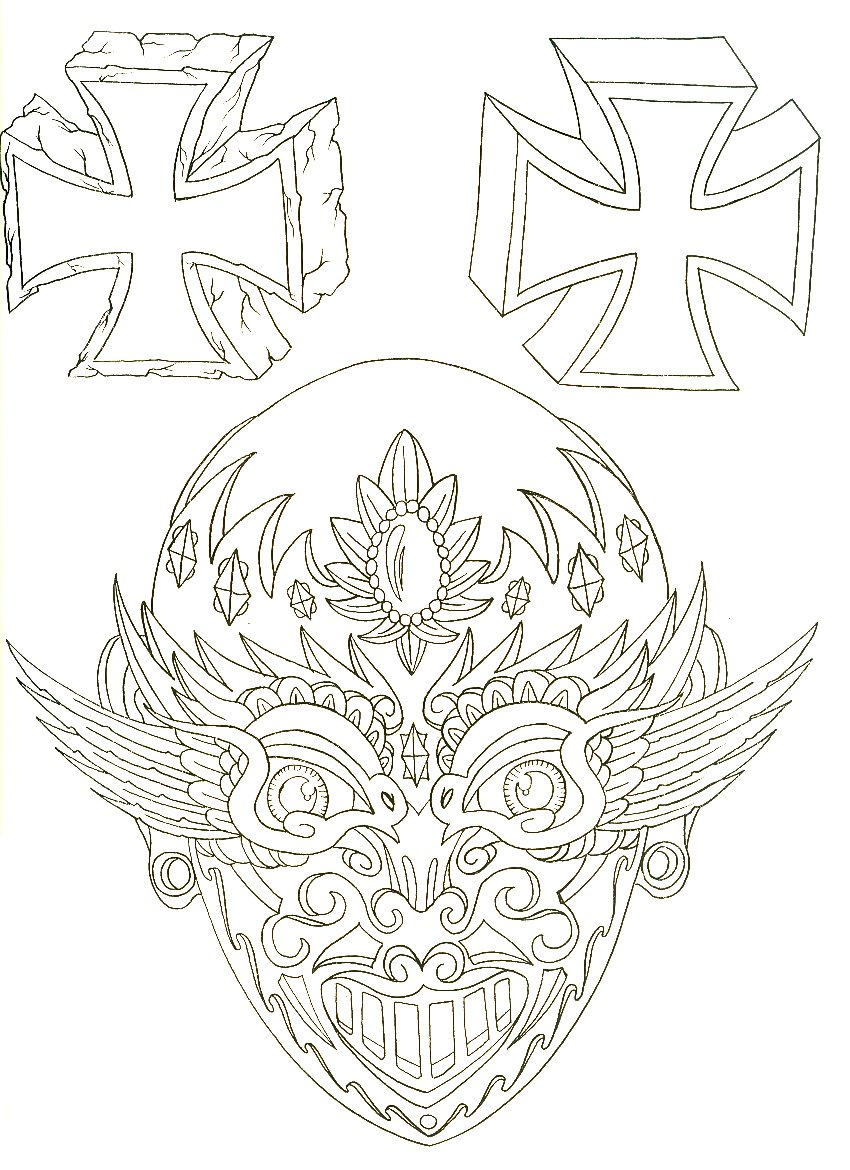 850x1170 Skull And Cross Drawing Pictures, Tattoo