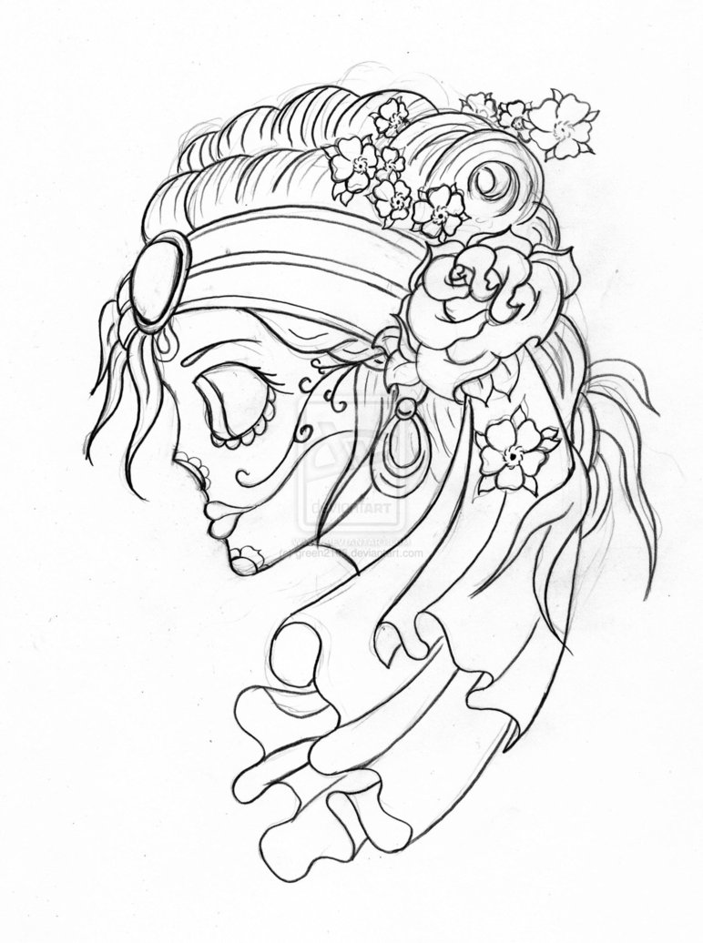 772x1036 Collection Of Gypsy With A Skull Tattoo Sketch