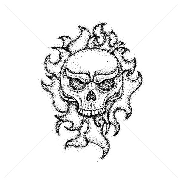 600x600 Dotwork Human Skull With Fire Vector Illustration Ganna Sereda