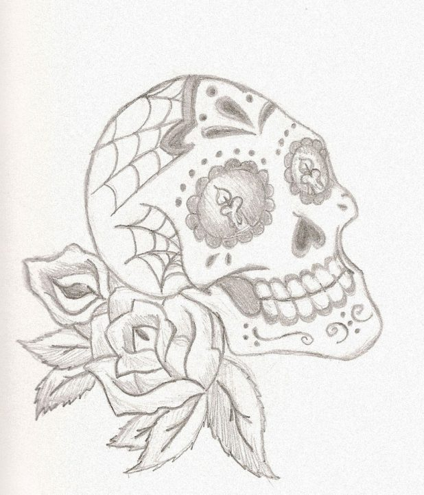 618x722 Adult Sugar Skull And Rose Sugar Skull And Rose Tattoo. Sugar