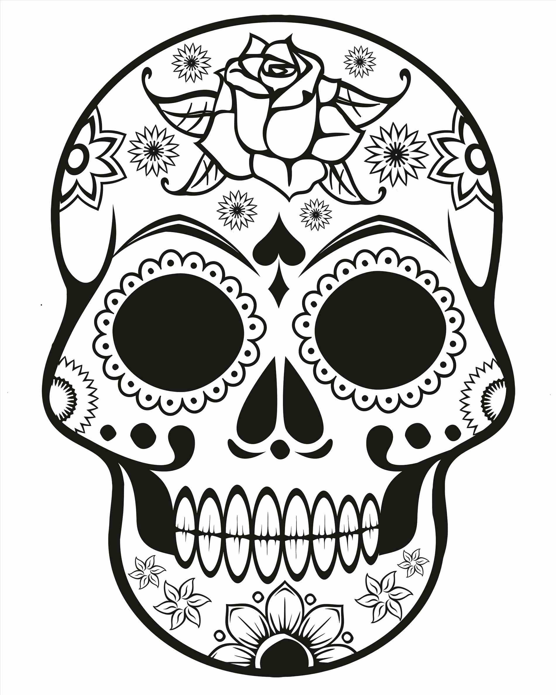 1900x2375 Sugar Skulls Drawings Printable Pages Sugar Sugar Skull And Roses