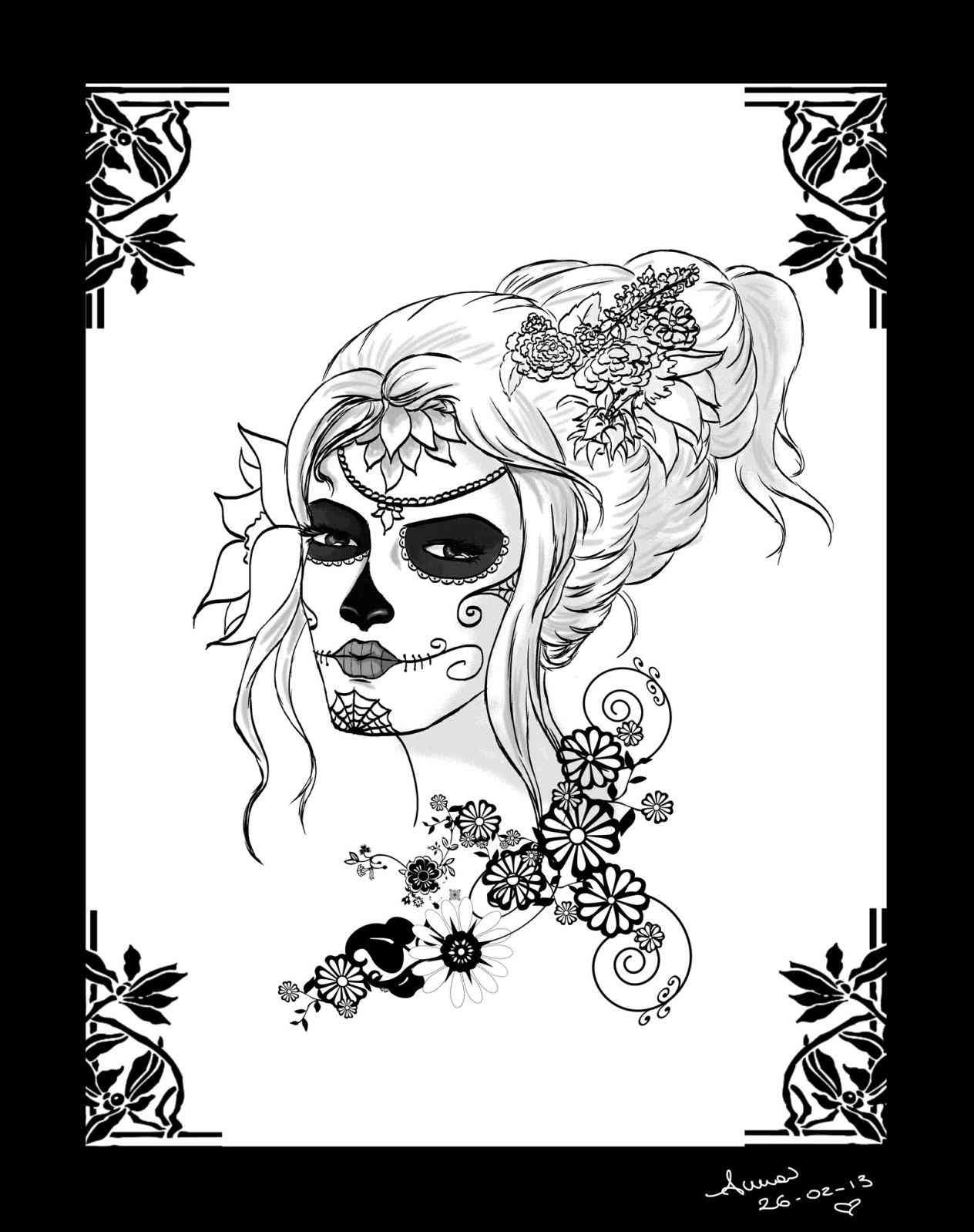 1264x1598 Digis And Doodads Free Digi Stamps Coloring Ideas Skull Rose